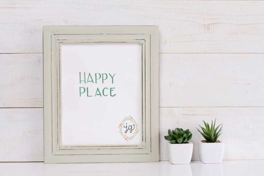 "Blog Post Image | Text ""Happy Place"" in a frame for Jerusalem Greer Blog Post"