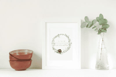 Featured Blog Image | A New EverAfter, Logo in Frame next to a plant and nested bowls