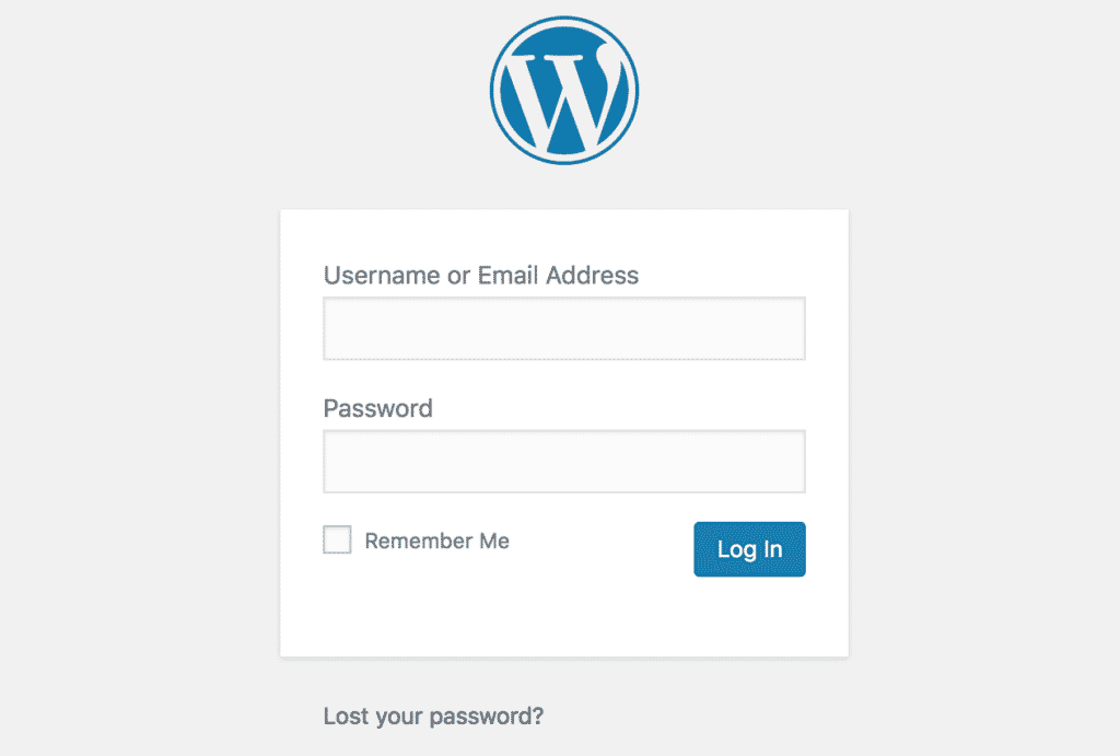 Image of WordPress Log-in Page