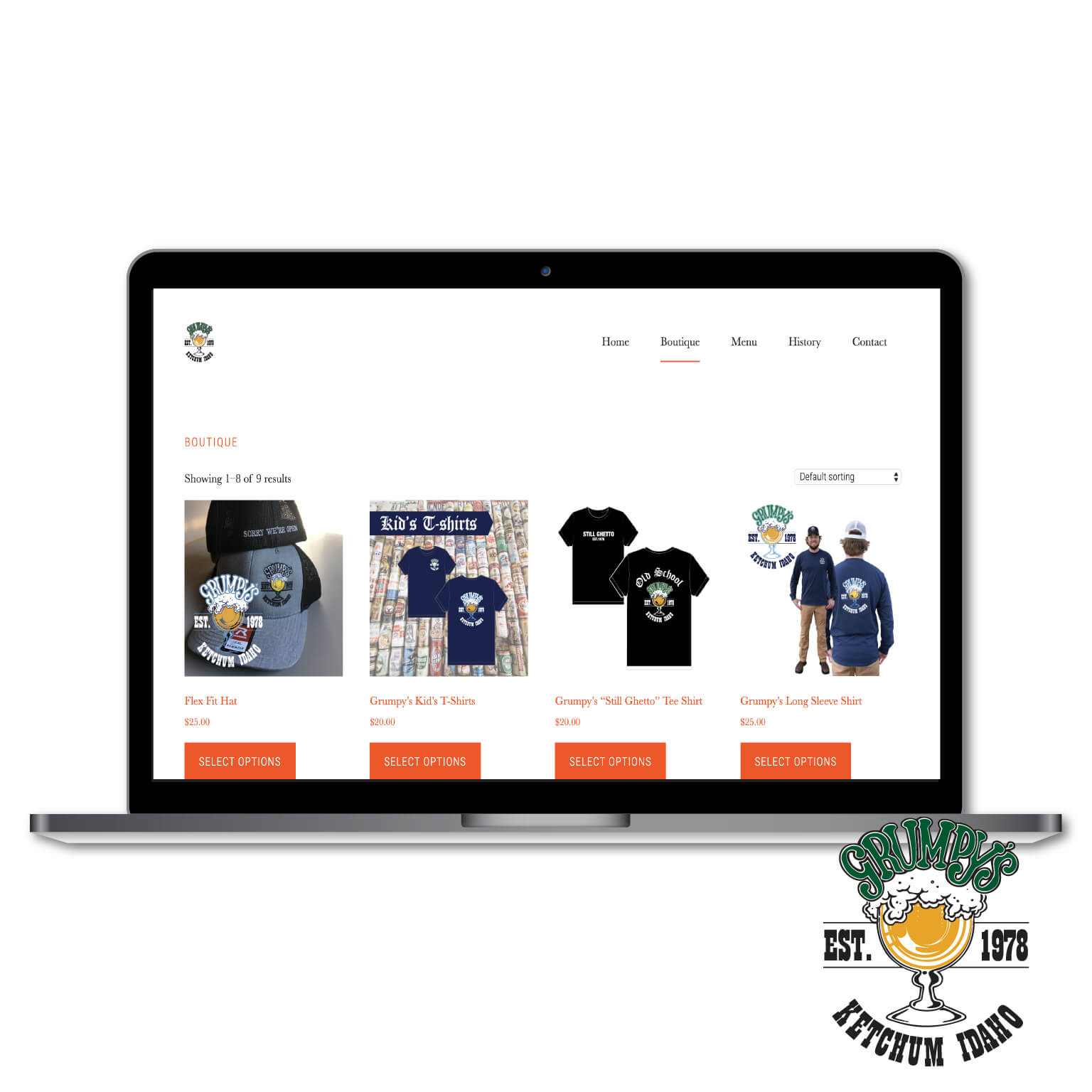 Portfolio | Website Design for Grumpy's displaying a Laptop and their Logo
