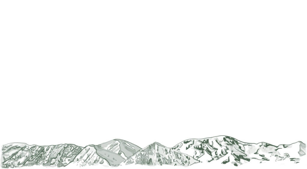Drawing of Hailey, Idaho Mountains featuring Della and Carbonate. Blue + Pine Branding.