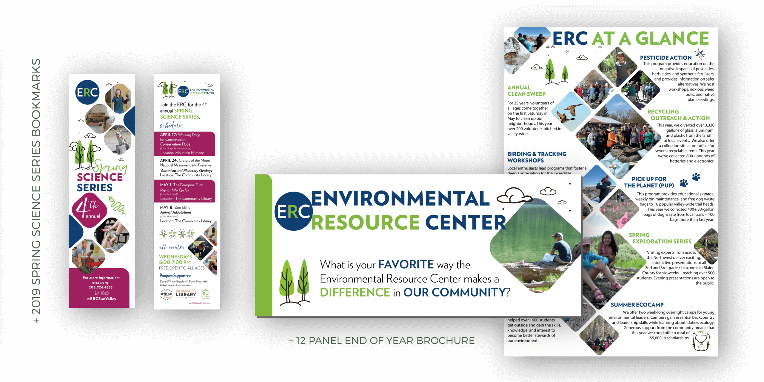 Portfolio | Trifold Design and Bookmark Design for ERC Annual Report 2019 and Spring Science Series