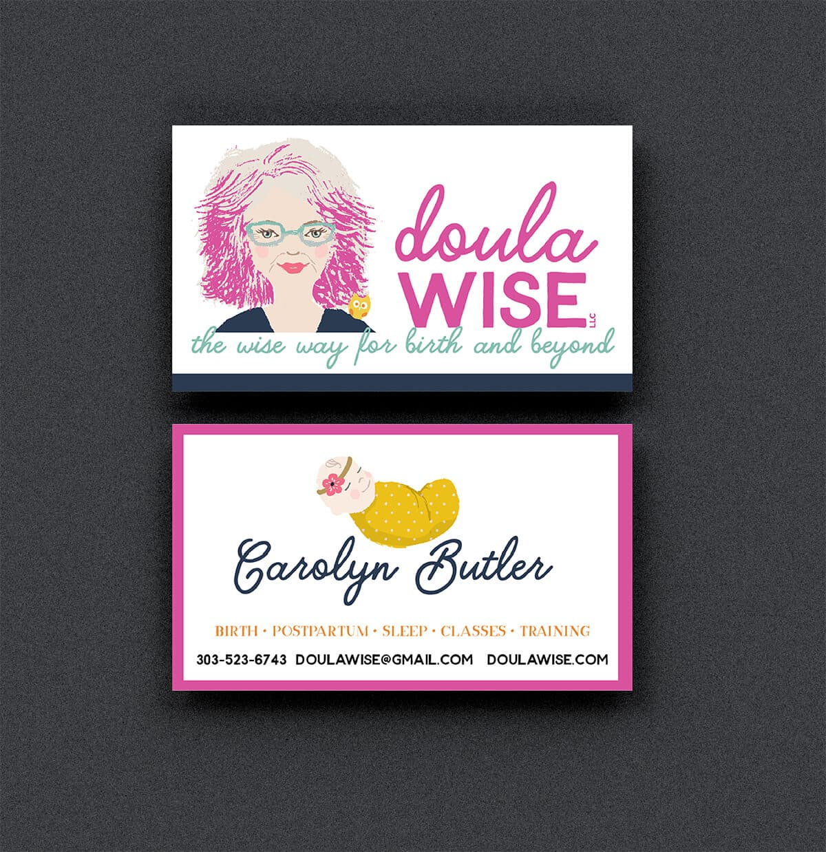 Portfolio | Business Card Design for Doula Wise Front and Back
