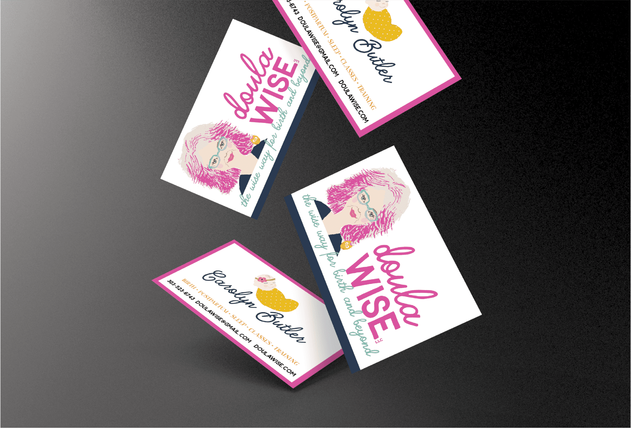 Portfolio | Business Card Design for Doula Wise Cards falling from top of image