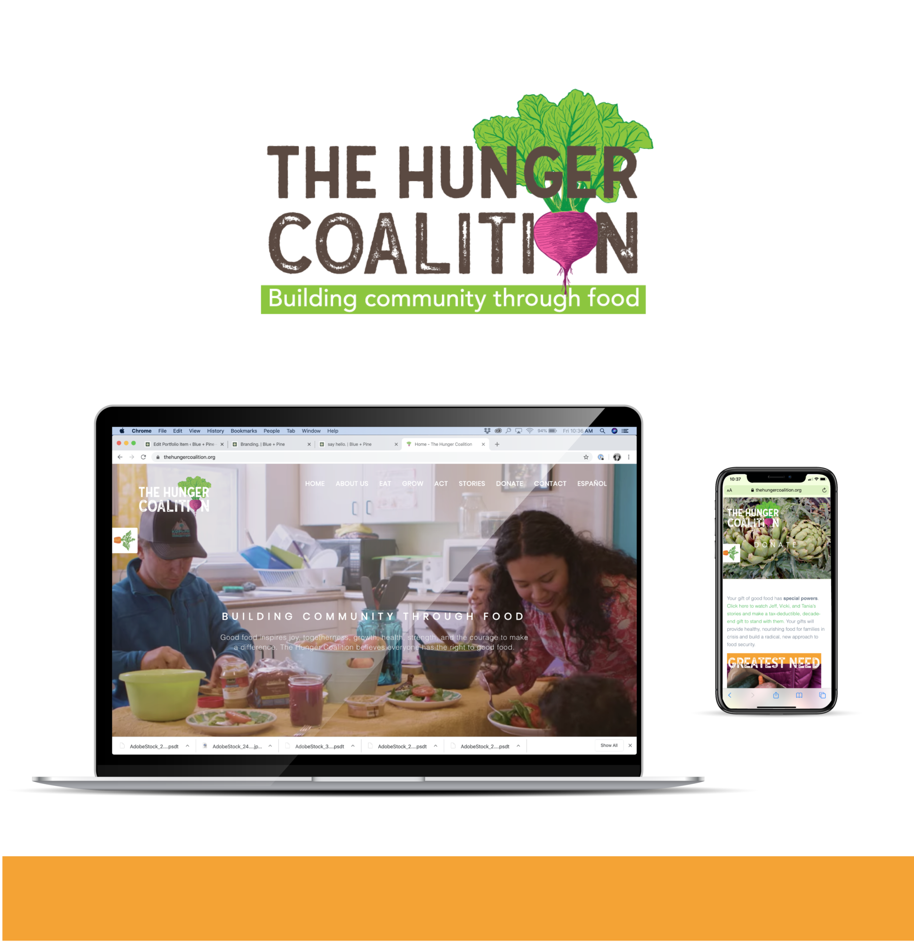Portfolio | Website Design for The Hunger Coalition featuring the logo and website design on a laptop and iPhone