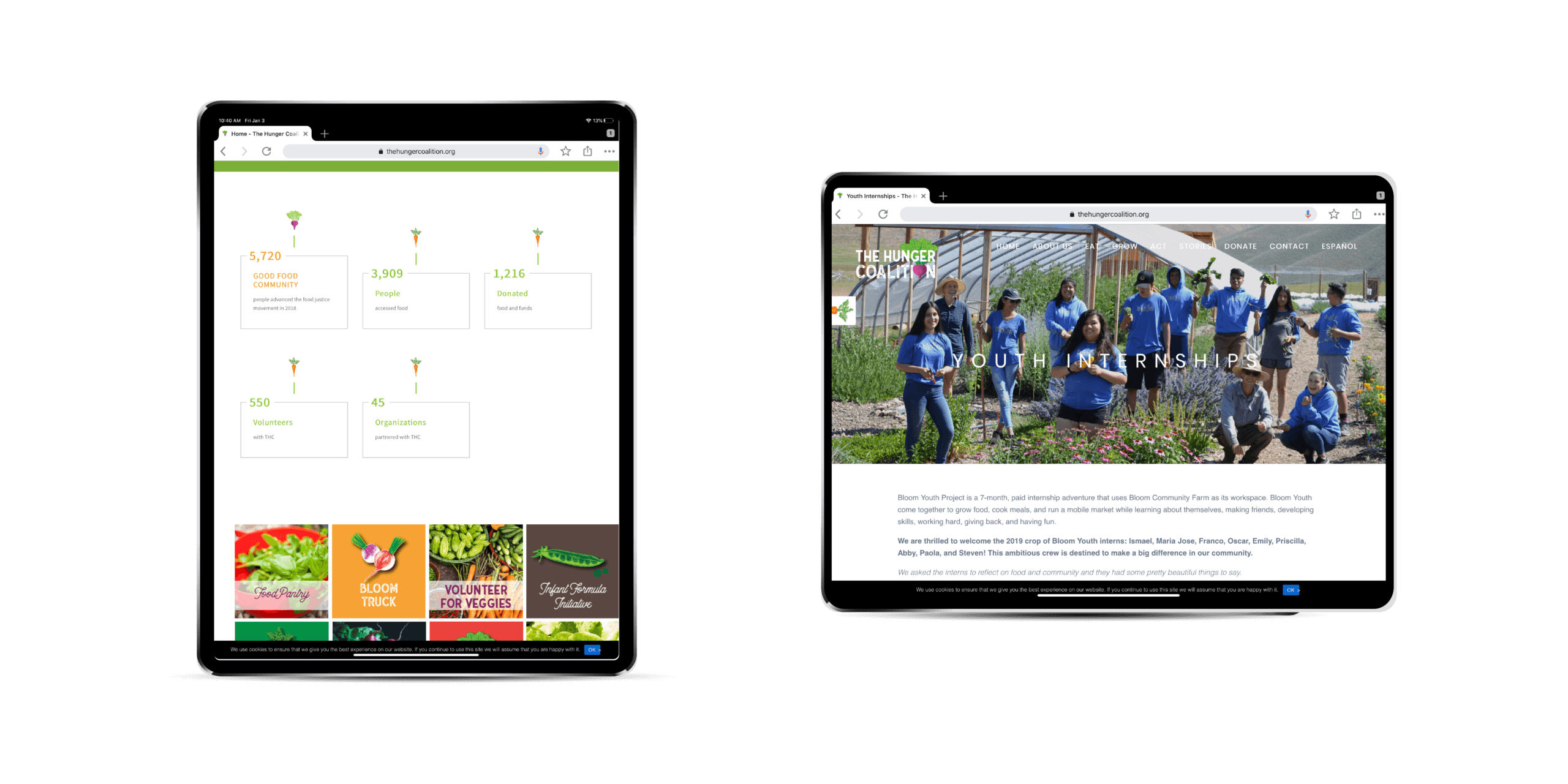 Portfolio | Website Design for The Hunger Coalition displayed on two iPads
