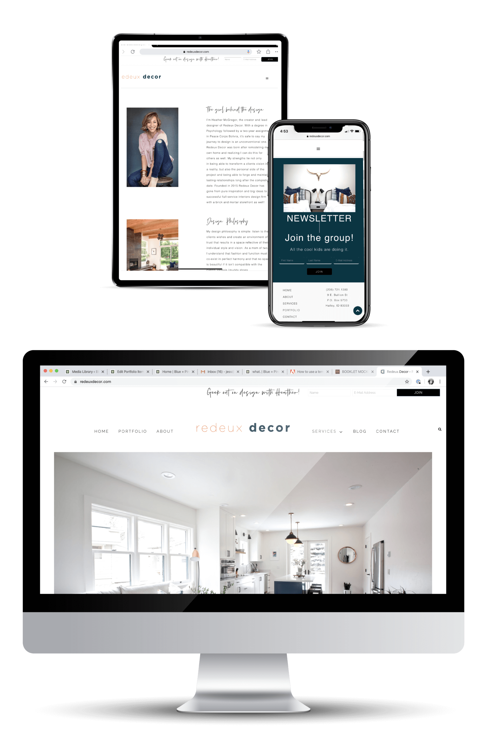 Portfolio | Website Design for Redeux Decor displayed on several devices