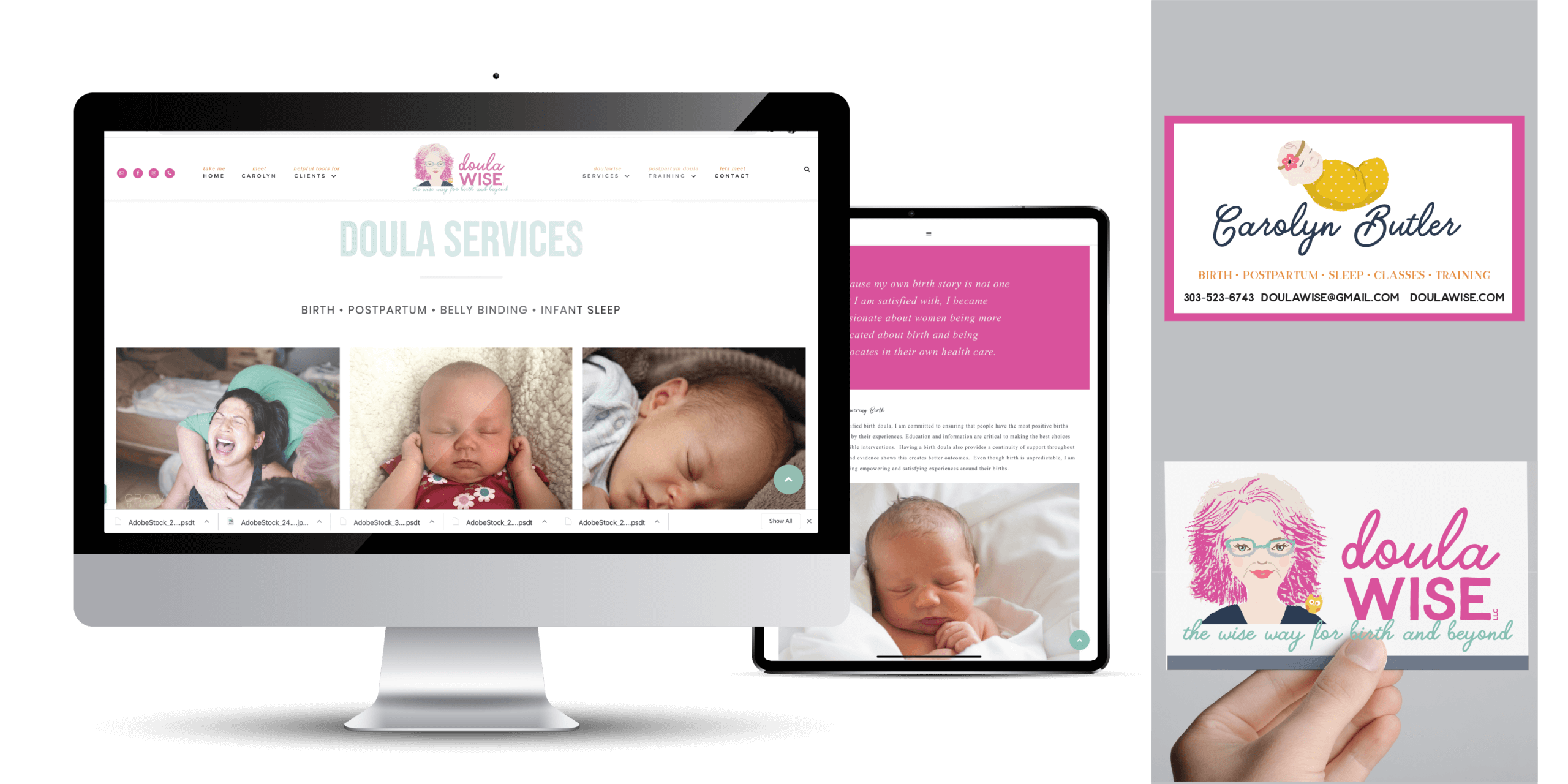 Portfolio | Website Design and Business Card Design for Doula Wise