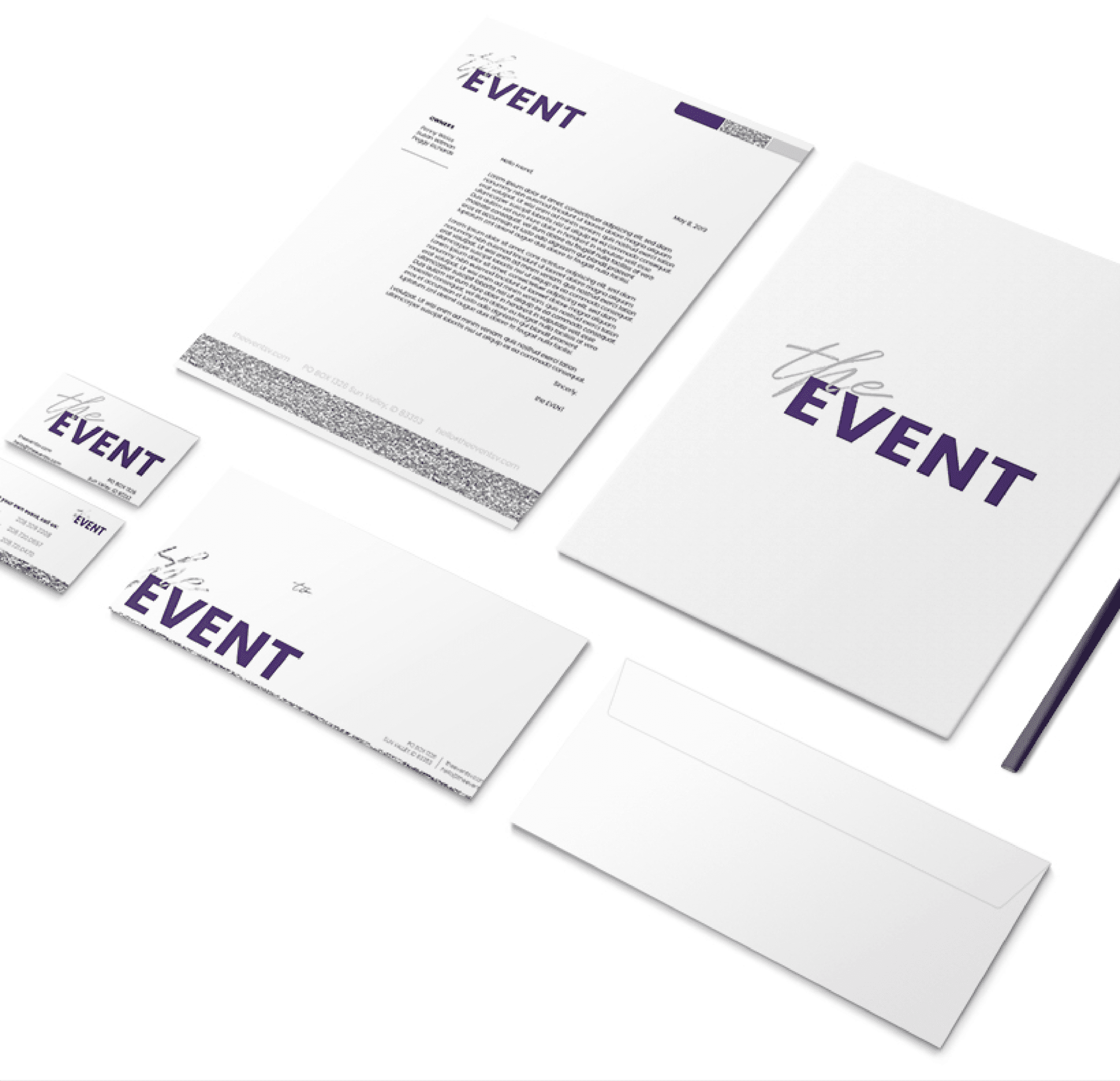 Portfolio | Stationary Design displaying the EVENT's branding on notecards, letterheads, folders business cards, and envelopes.