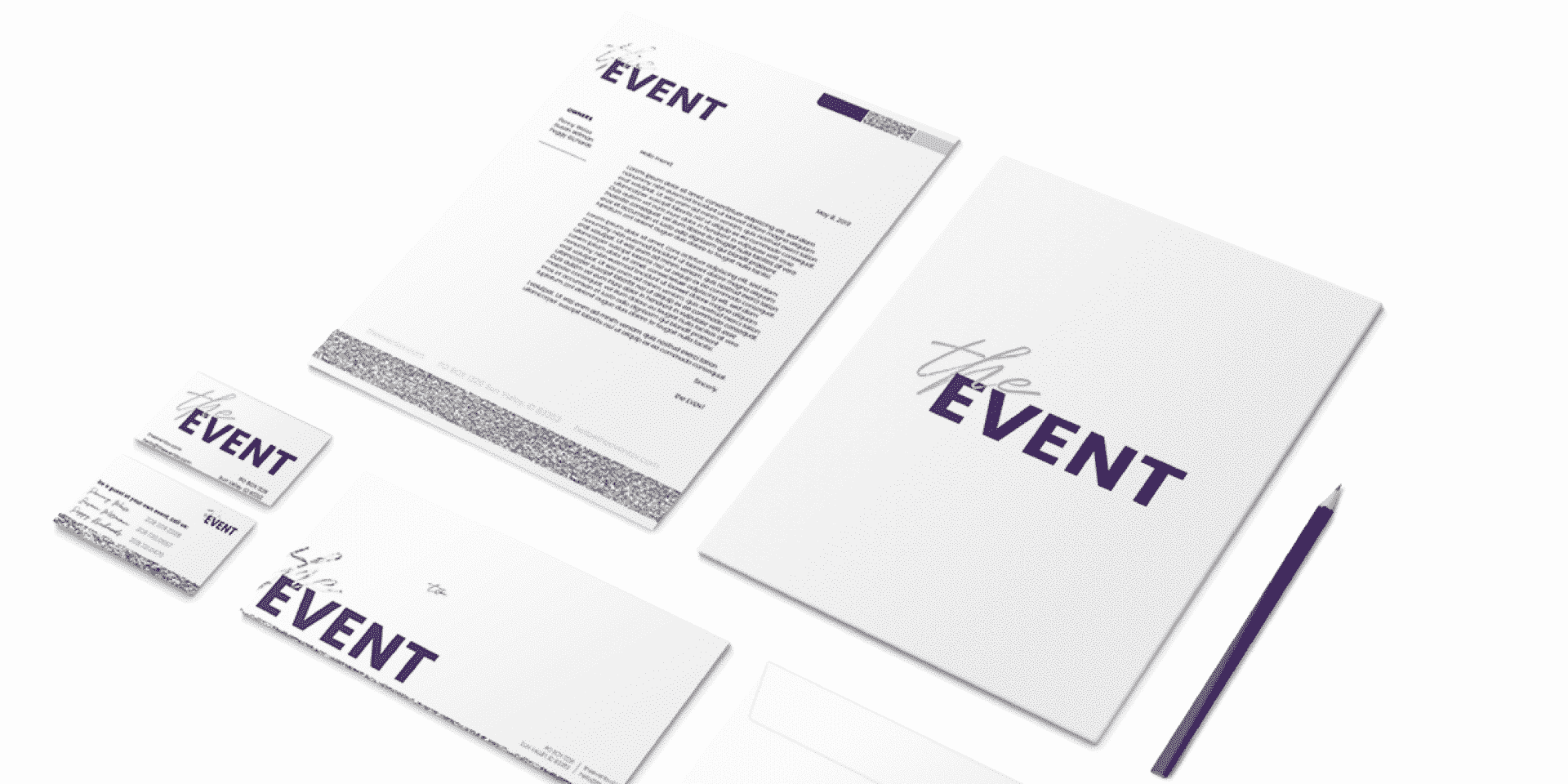 Portfolio | Stationary Design for the EVENT including letterhead, notecards, folder and envelope