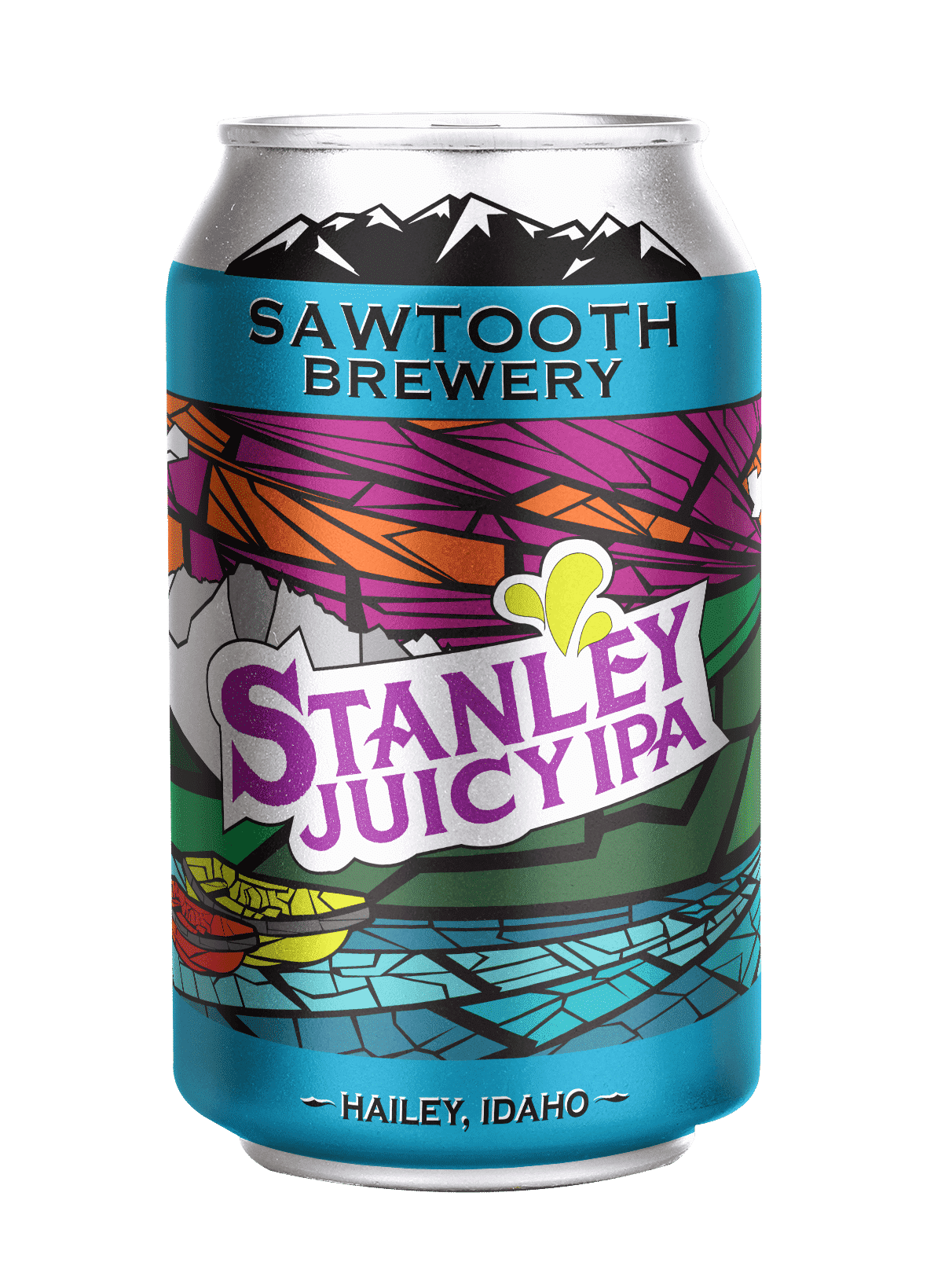 Portfolio | Beer Can Design for Sawtooth Brewery featuring Stanley Juicy IPA