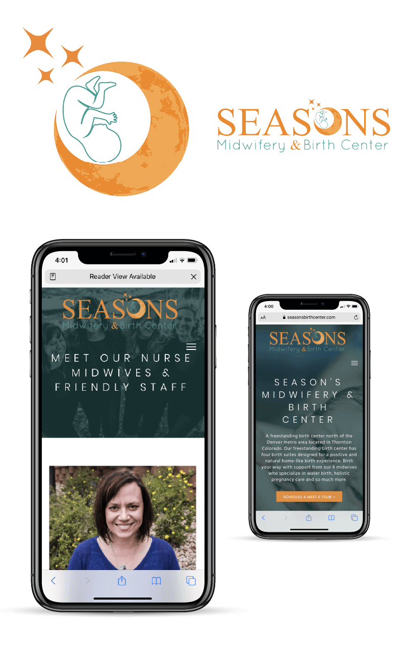 Portfolio | Seasons Midwifery & Birth Center Logo and Two iPhone Examples
