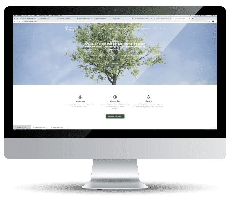 Portfolio Featured Image | Desktop computer displaying website design of Thriving in Ministry
