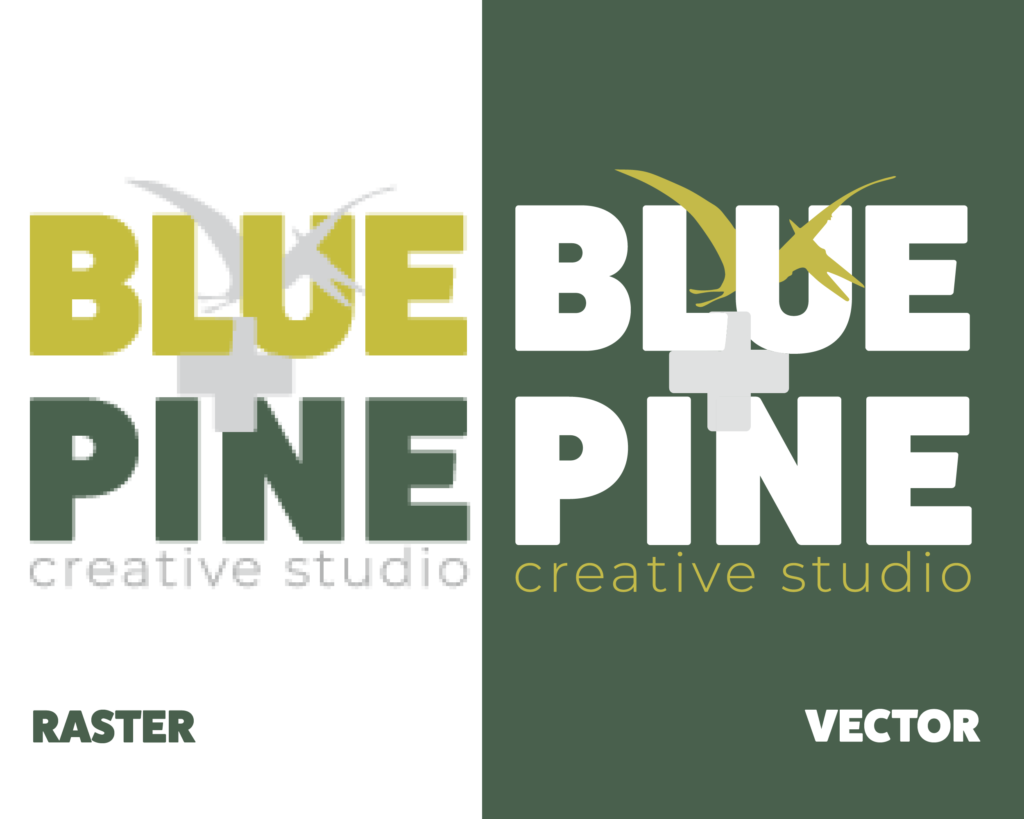 An example of the Blue + Pine Logos as a raster and as a vector.